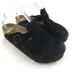 Boston clogs black suede open back mules shoes 39